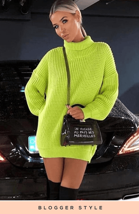 BROOKLYN LIME CHUNKY KNIT JUMPER DRESS