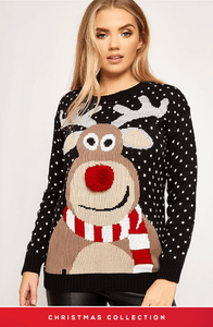 BLACK 3D REINDEER & SNOWFALL MERRY CHRISTMAS JUMPER