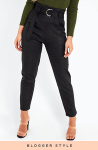 ALIYAH BLACK CROC PRINT BELTED PAPERBAG TROUSERS