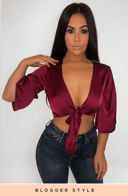 JAMELIA WINE SATIN TIE FRONT PLUNGE TOP