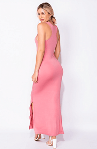 ORLA ROSE PINK ESSENTIAL SIDE SLIT MAXI DRESS