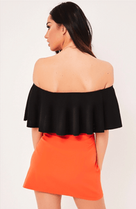 KEEGAN BLACK SMOOTH LINE FRILLED BODYSUIT
