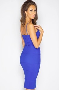 MCKENNA ROYAL BLUE V-BAR BODYCON DRESS