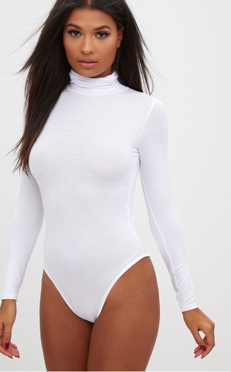 WHITE LONG SLEEVE TURTLE NECK BODYSUIT