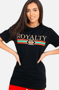 APRIL BLACK & GOLD PRINT 'ROYALTY' STATEMENT T-SHIRT