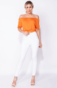 INDIA ORANGE FRILL HEM BARDOT TOP