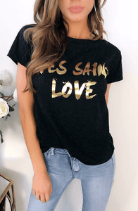 YVES SAINT LOVE GOLD & BLACK STATEMENT T-SHIRT