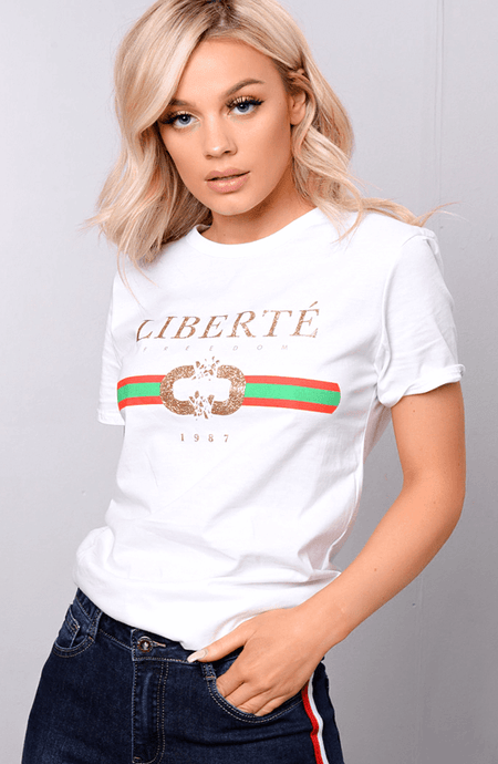 FELICIA WHITE & GOLD PRINT 'LIBERTE' STATEMENT T-SHIRT