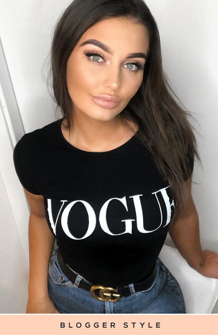 JESSIKA BLACK VOGUE SLOGAN TOP