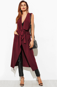 IMOGEN WINE TWO POCKET LONGLINE WATERFALL WAISTCOAT