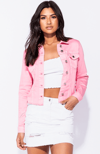 LOLA PINK RAW  DENIM TRUCKER JACKET