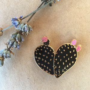 Black Corazon de Nopal Pin
