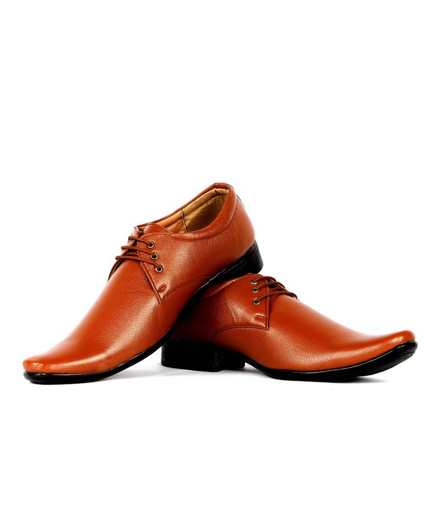 Men's Tan Lace -up Synthetic Formal Shoes