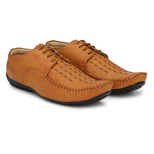 Men's Tan Solid Perforated Outdoor Formal Shoes