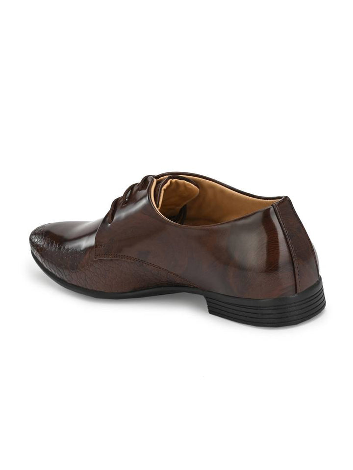 Men Brown Patent Leather Formal Shoes