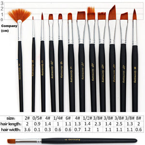 12 Pcs Nylon Hair Paint Brush