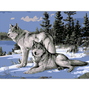 2 Winter Wolf DIY Painting By Number Kit
