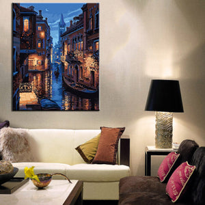 Beautiful Venice Night Landscape Canvas DIY Painting