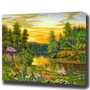 House By the Creek DIY Oil Painting by Numbers