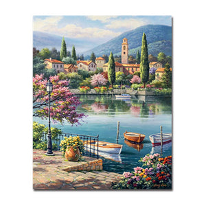 Lake Boat Across the Town DIY Oil Painting By Numbers