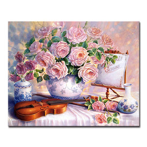 Violin Pink Hibiscus Flower Canvas Painting