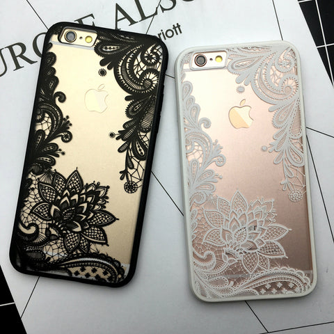 Trendy Transparent Lace Designs iPhone Case