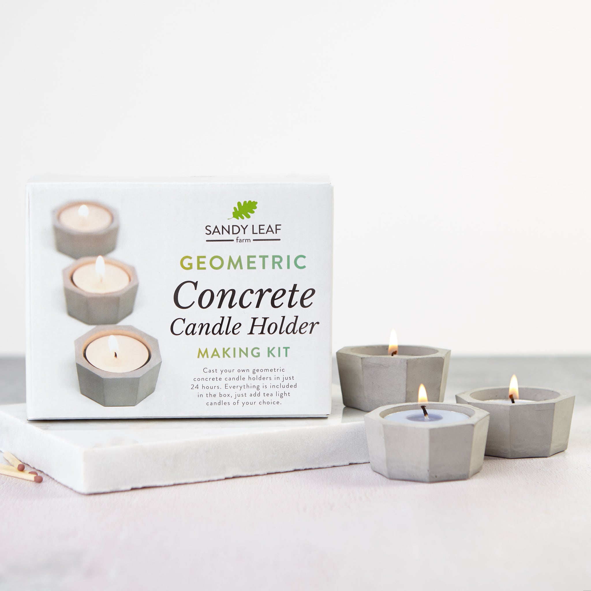 Geometric Concrete Candle Holder Making Kit Sandy Leaf Farm