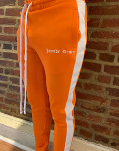 Orange & white track pants