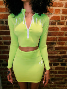 """BRAT"" NEON 2 piece skirt set"