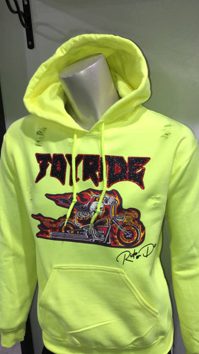"""Ride or die"" caution green hoodie"