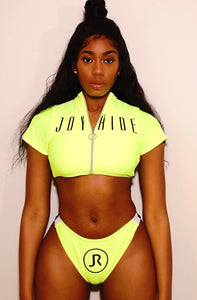 "Neon green ""BAE"" 2 piece bathing suit"