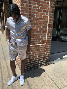 """Santana silk"" gun metal sliver short set"