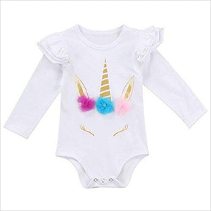 Baby Girl Unicorn Bodysuit (90/12-18 Months, White) - Find Unicorn gifts for girls and unicorn gifts for women, magical unicorn gifts ideas - jewelry, clothing, accessories and games at Gifteee Unique Gifts, Cool gifts for unicorn lovers