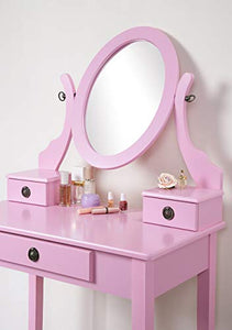 Pink Wood Makeup Vanity Table and Stool Set