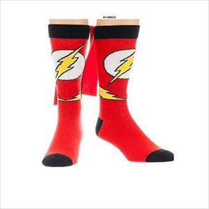 Flash Logo Caped Crew Socks - Find unique gifts for boys age 5-11 year old, gifts for your son, gifts for your kids birthday or Christmas, gifts for you children classmates and friends at Gifteee Unique Gifts, Cool gifts for boys