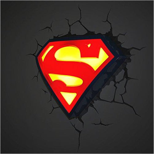Warner Bros DC Comics Superman Crest 3D Deco Light - Gifteee. Find cool & unique gifts for men, women and kids