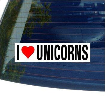 I Love UNICORNS Window Bumper Sticker-Automotive Parts and Accessories - www.Gifteee.com - Cool Gifts \ Unique Gifts - The Best Gifts for Men, Women and Kids of All Ages