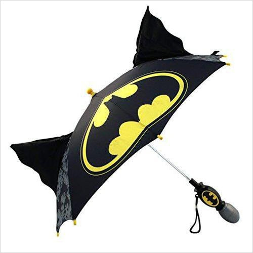 Little Batman 'Squeeze and Flap' Fun Rainwear Umbrella - Find unique gifts for superhero fans, the avengers, DC, marvel fans all super villians and super heroes gift ideas, games collectibles and gadgets at Gifteee Cool gifts, Unique Gifts for comic book fans