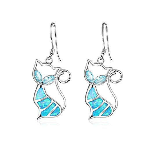 Sterling Silver Blue Opal and Cubic Zirconia Cat Earrings-Jewelry - www.Gifteee.com - Cool Gifts \ Unique Gifts - The Best Gifts for Men, Women and Kids of All Ages