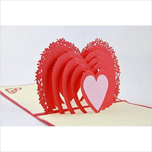 Red Heart - Handmade 3D Pop Up Card - Find unique love and romance gifts, special gifts for Valentine's day, beautiful gifts for your girl friend to spread love into the air at Gifteee Cool gifts, Unique Gifts for Valentine's day