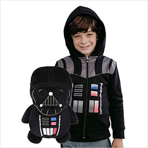 Star Wars Darth Vader - 2-in-1 Transforming Classic Zip-Up & Soft Plushie - Find unique gifts for Star Wars fans, new star wars games and Star wars LEGO sets, star wars collectibles, star wars gadgets and kitchen accessories at Gifteee Cool gifts, Unique Gifts for Star Wars fans
