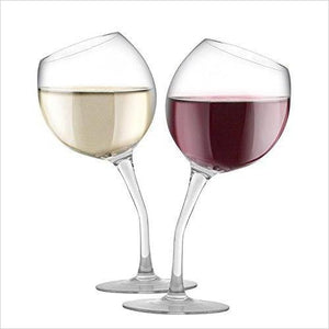 Tilted Wine Glass Set - Find unique love and romance gifts, special gifts for Valentine's day, beautiful gifts for your girl friend to spread love into the air at Gifteee Cool gifts, Unique Gifts for Valentine's day