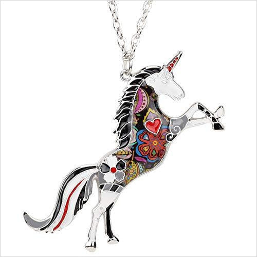 Enamel Alloy Horse Unicorn Necklace-Jewelry - www.Gifteee.com - Cool Gifts \ Unique Gifts - The Best Gifts for Men, Women and Kids of All Ages