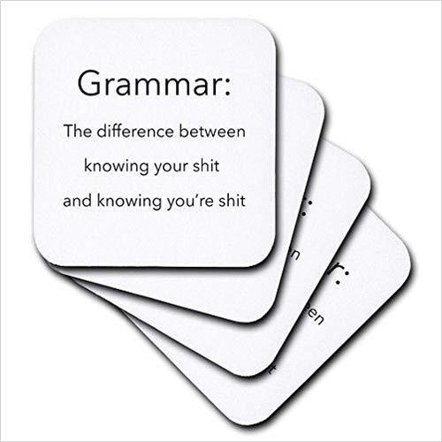 The Definition of Grammar - Soft Coasters, Set of 8-Home - www.Gifteee.com - Cool Gifts \ Unique Gifts - The Best Gifts for Men, Women and Kids of All Ages