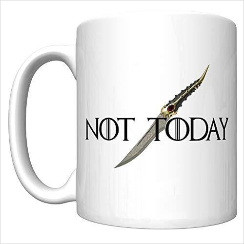 Not Today With The Catspaw Dagger (Arya Stark, Game of Thrones Coffee Mug)-Kitchen - www.Gifteee.com - Cool Gifts \ Unique Gifts - The Best Gifts for Men, Women and Kids of All Ages