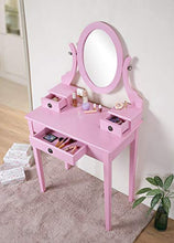 Load image into Gallery viewer, Pink Wood Makeup Vanity Table and Stool Set