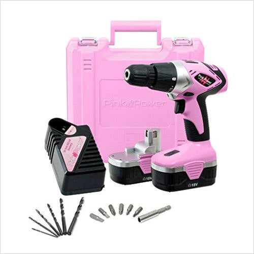 Cordless Electric Drill Driver - Pink Power-Home Improvement - www.Gifteee.com - Cool Gifts \ Unique Gifts - The Best Gifts for Men, Women and Kids of All Ages