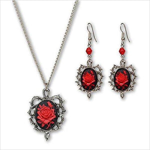 Red Rose Cameo Surrounded by Thorns Pendant Necklace Dangle Earrings Jewelry Set-Jewelry - www.Gifteee.com - Cool Gifts \ Unique Gifts - The Best Gifts for Men, Women and Kids of All Ages