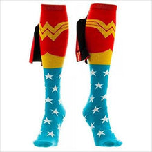 Load image into Gallery viewer, DC Comics Wonder Woman Knee High Shiny Cape Socks - Gifteee. Find cool & unique gifts for men, women and kids