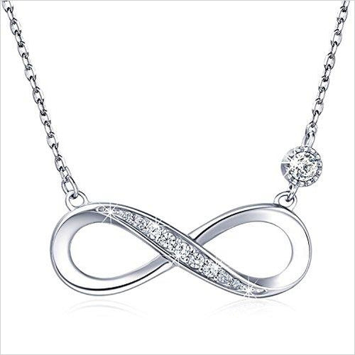 "Billie Bijoux ""Forever Love"" Infinity Heart Pendant White Gold Plated Diamond - Gifteee. Find cool & unique gifts for men, women and kids"